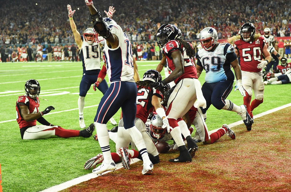 The New England Patriots score the game winning touchdown in overtime against the Atlanta Falcons during Super Bowl 51 at NRG Stadium on Feb. 5, 2017 in Houston.
