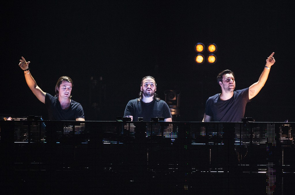 Axwell, Steve Angello and Sebastian Ingrosso from Swedish House Mafia perform at Palais Omnisports de Bercy on Dec. 8, 2012 in Paris.