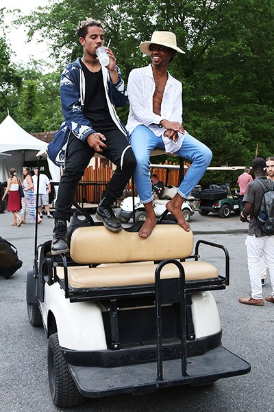 Vic Mensa and Raury backstage during the 2015 Sweetlife Festival