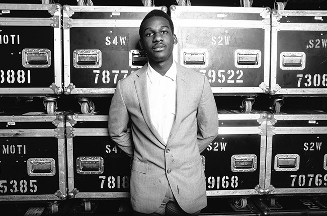 Leon Bridges backstage at the Gorilla Vs. Bear Showcase at Hype Machine's Hype Hotel on March 19, 2015 in Austin, Tx during SXSW.