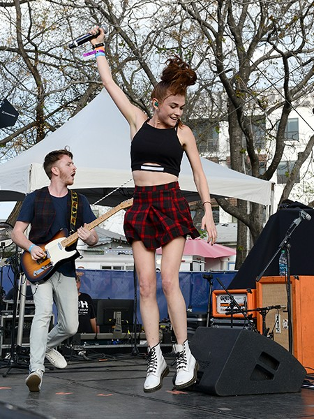 Mandy Lee Duffy of MisterWives performs at the Spotify House at SXSW 2015 on March 19, 2015 in Austin, Tx.
