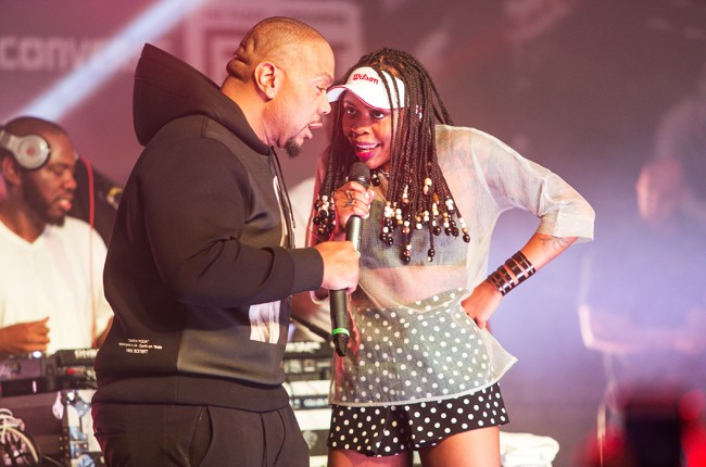 Timbaland and Tink perform onstage at The FADER FORT sxsw 2015