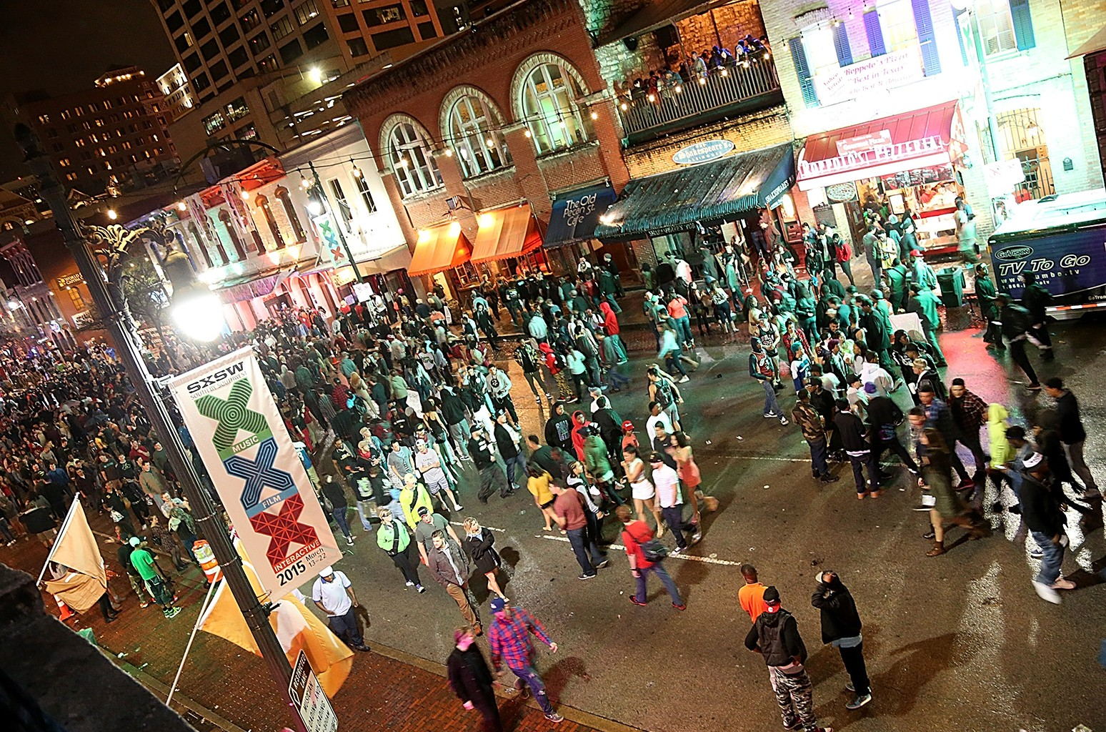 A general view of the atmosphere on 6th street in downtown Austin during the South By Southwest Music Festival on March 20, 2015 in Austin, Texas.