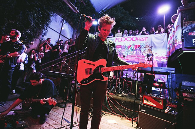 Spoon performs at Flood Fest during SXSW at the Cedar Street Courtyard in Austin, Tx in 2015.
