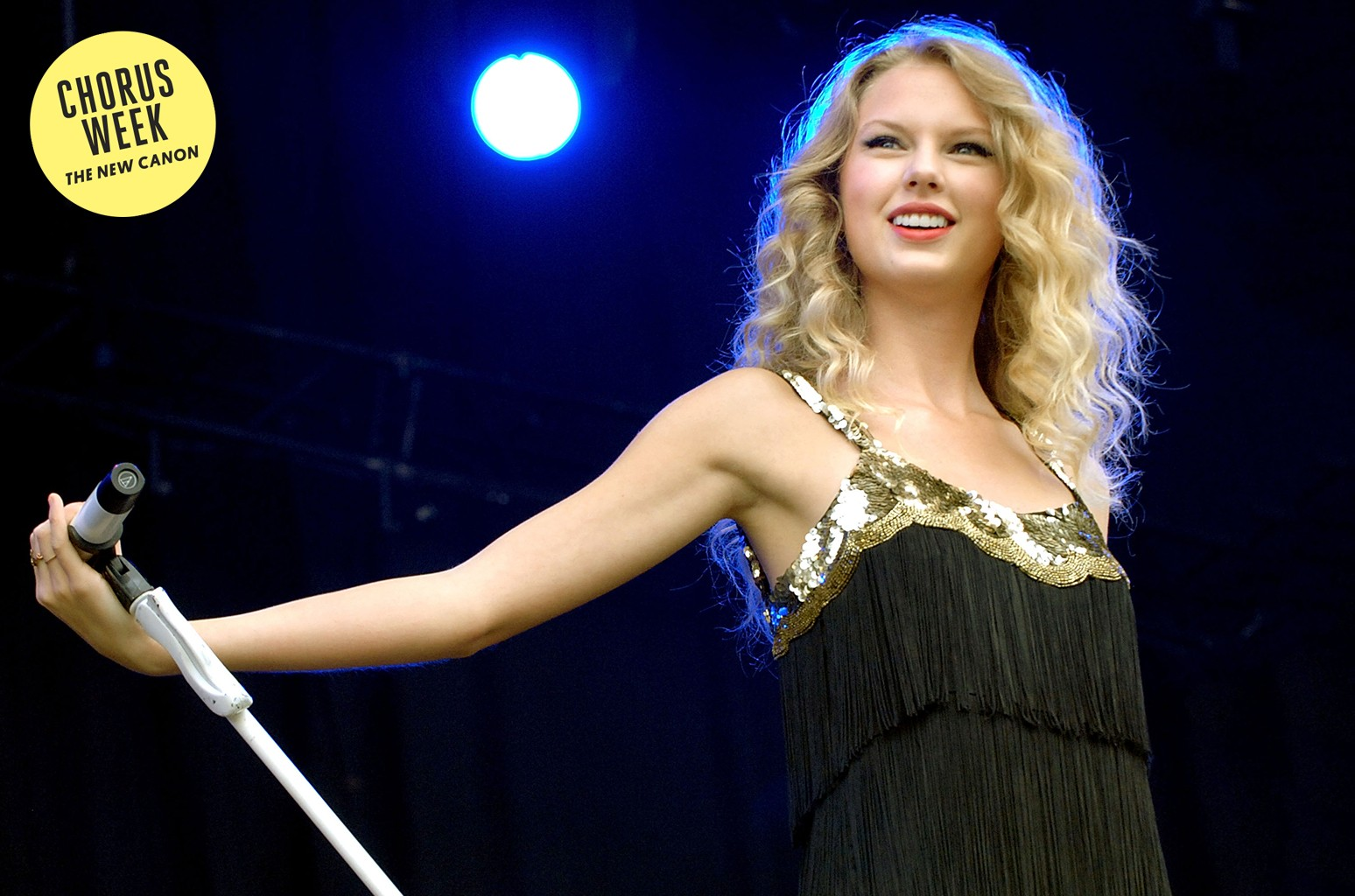 Taylor Swift performs at Day 2 of the V Festival at Weston Park on August 23, 2009 in Stafford, England.