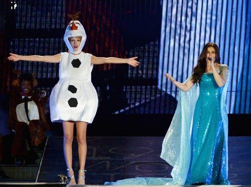 Taylor Swift as Olaf and Idina Menzel as Elsa