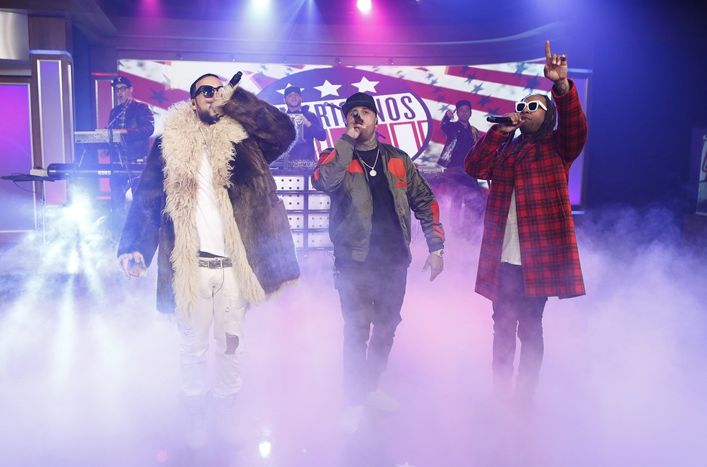 French Montana, Nicky Jam and Ty Dolla $ign of The Americanos perform on Jimmy Kimmel Live on Jan. 24, 2017.