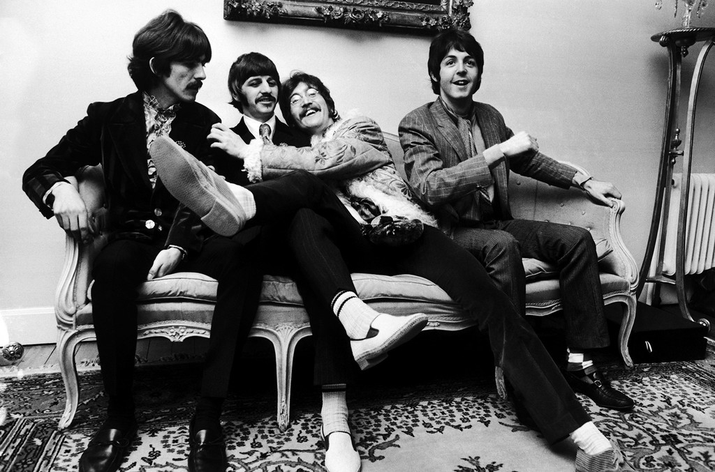The Beatles at the press launch for their new album 'Sergeant Pepper's Lonely Hearts Club Band', held at Brian Epstein's house at 24 Chapel Street, London on May 19, 1967.
