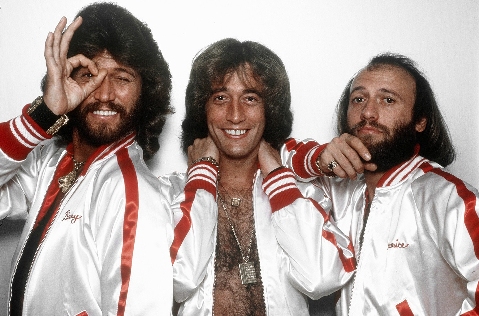The Bee Gees photographed on Oct. 22, 1977 in Los Angeles.