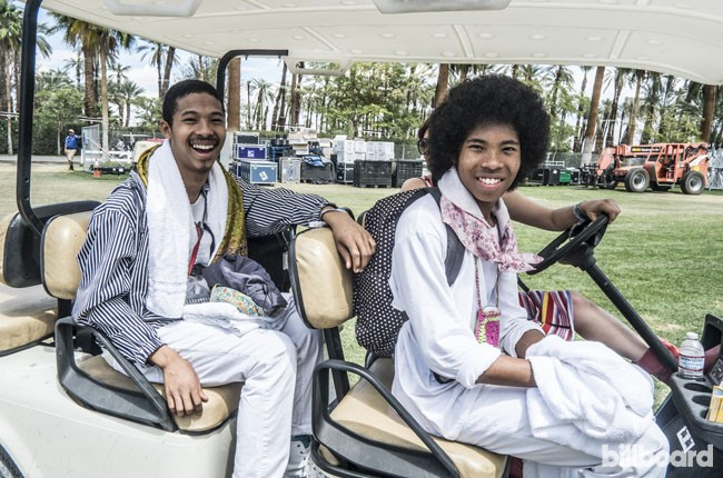 The Bots get a ride backstage during Coachella