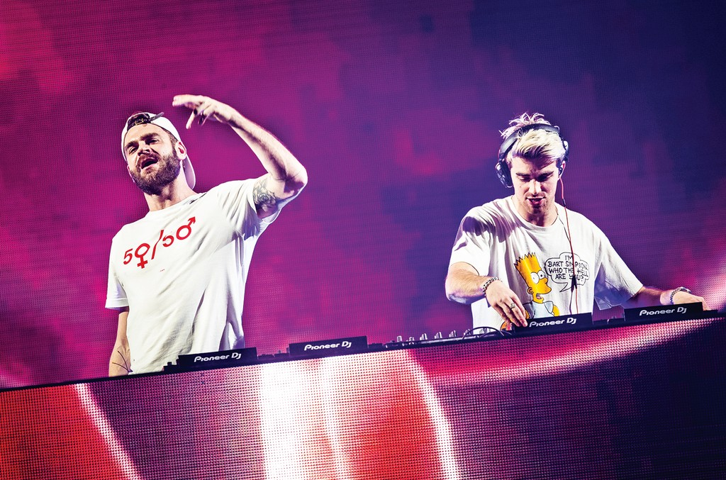 The Chainsmokers onstage in Stockholm on March9.