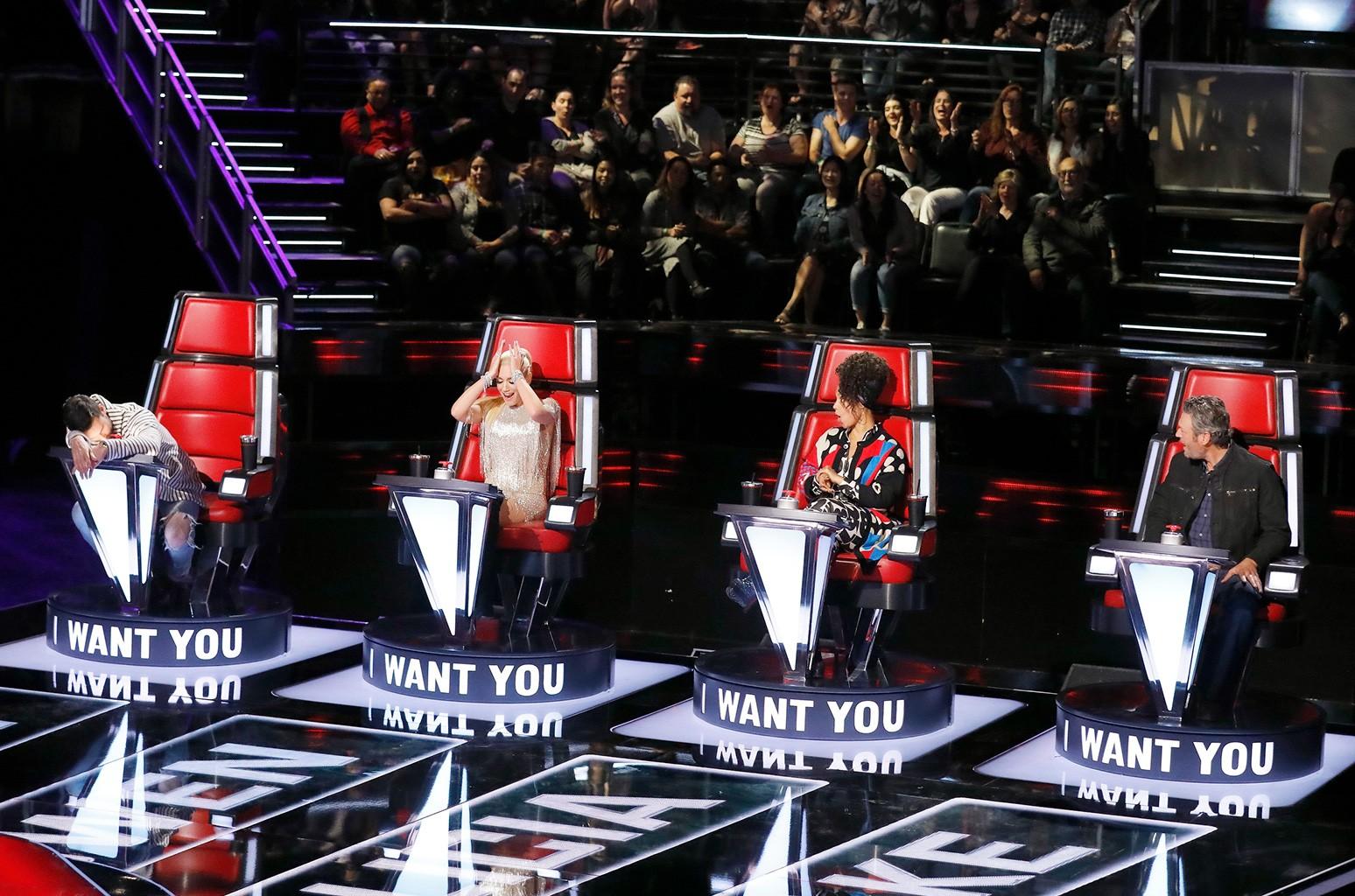 "Adam Levine, Gwen Stefani, Alicia Keys, Blake Shelton on ""The Voice."""