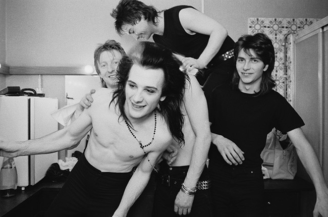Rat Scabies, Dave Vanian and Bryn Merrick of British punk group The Damned