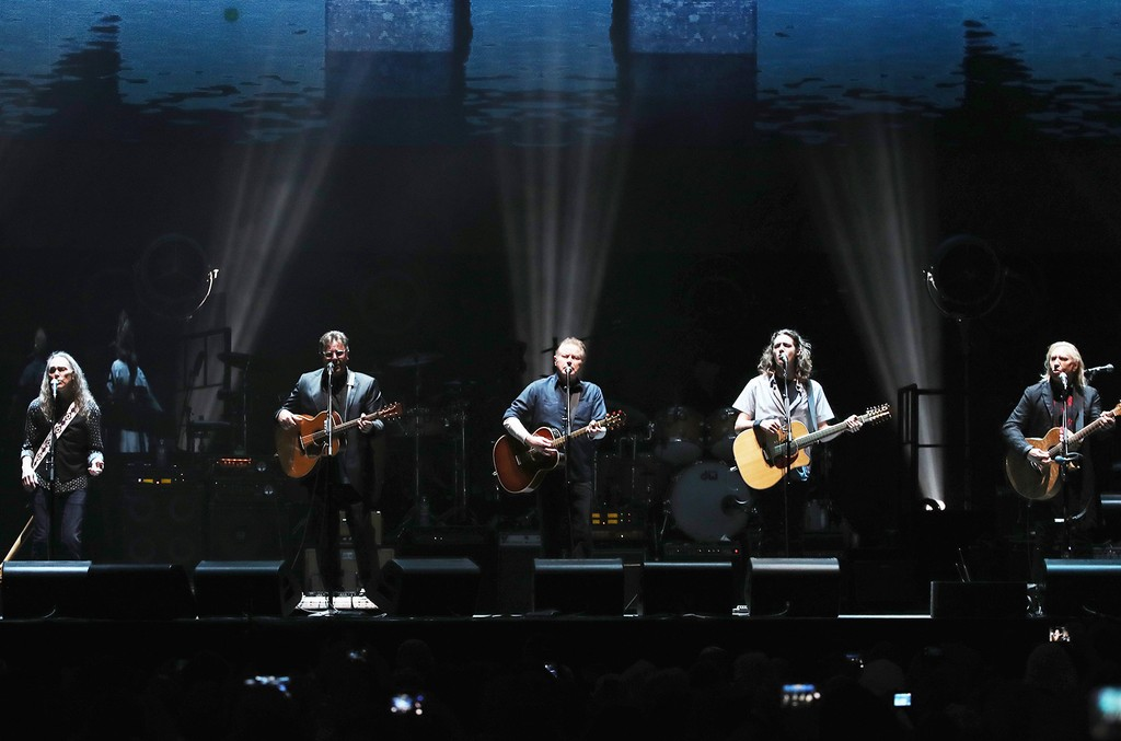 Timothy B. Schmit, Vince Gill, Don Henley, Deacon Frey and Joe Walsh perform onstage with The Eagles during The Classic East - Day 1 at Citi Field on July 29, 2017 in New York City.