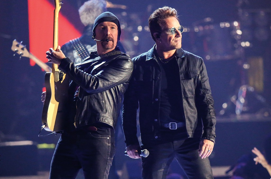 David Howell Evans aka The Edge (L) and Bono of U2 perform onstage during the 2016 iHeartRadio Music Festival - Night 1 held at T-Mobile Arena on Sept. 23, 2016 in Las Vegas.