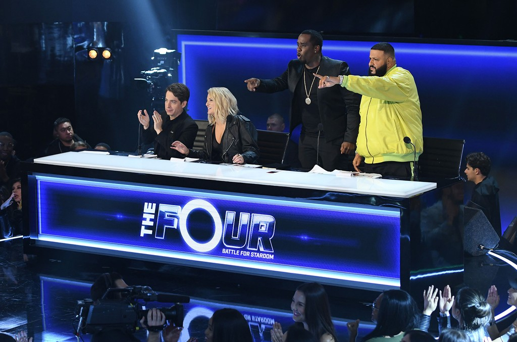 """Charlie Walk, Meghan Trainor, Sean """"Diddy"""" Combs and DJ Khaled in the """"Week Two"""" episode of FOX's The Four: Battle for Stardom on Jan. 11, 2018."""