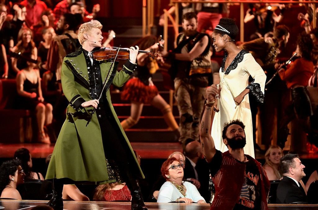 Lucas Steele performs onstage with the cast of 'Natasha, Pierre and The Great Comet of 1812' onstage during the 2017 Tony Awards at Radio City Music Hall on June 11, 2017 in New York City.
