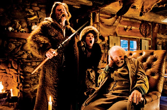 "Kurt Russell, Jennifer Jason Lee and Bruce Dern in a scene from 2015's ""The Hateful Eight."""