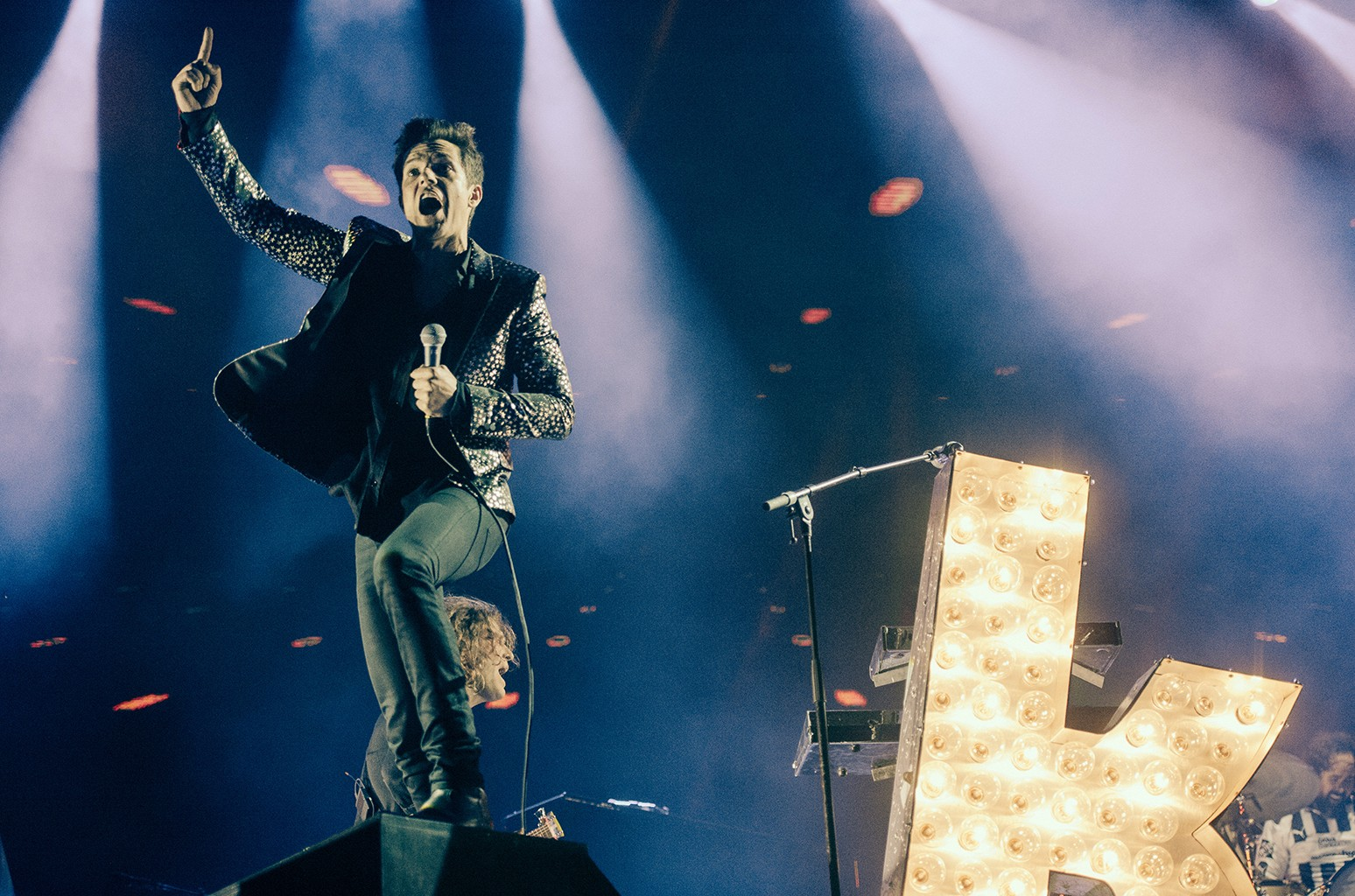 Brandon Flowers of The Killers performs at Pal Norte Festival on March 31, 2017 in Monterrey, Mexico.