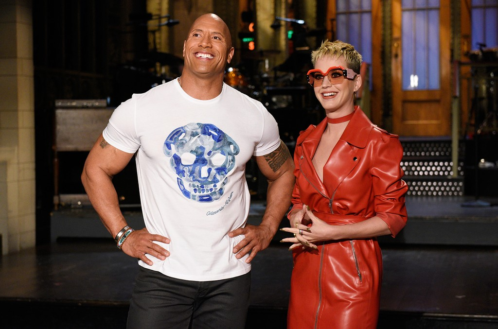 Host Dwayne Johnson with musical guest Katy Perry in Studio 8H on May 17, 2017.