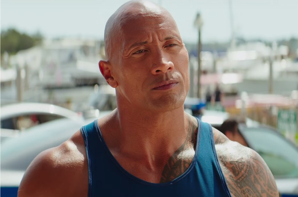 The Rock in the trailer for Baywatch.