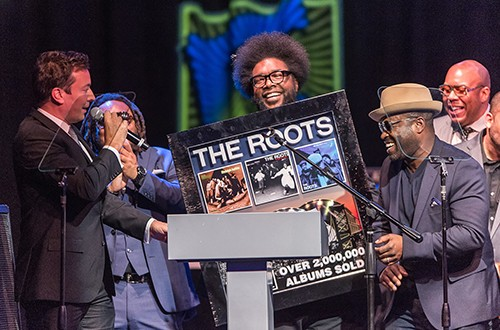 Jimmy Fallon presents The Roots with a Multi Platinum Plaque Award and The Philadelphia Music Alliance 2015 Walk of Fame Award