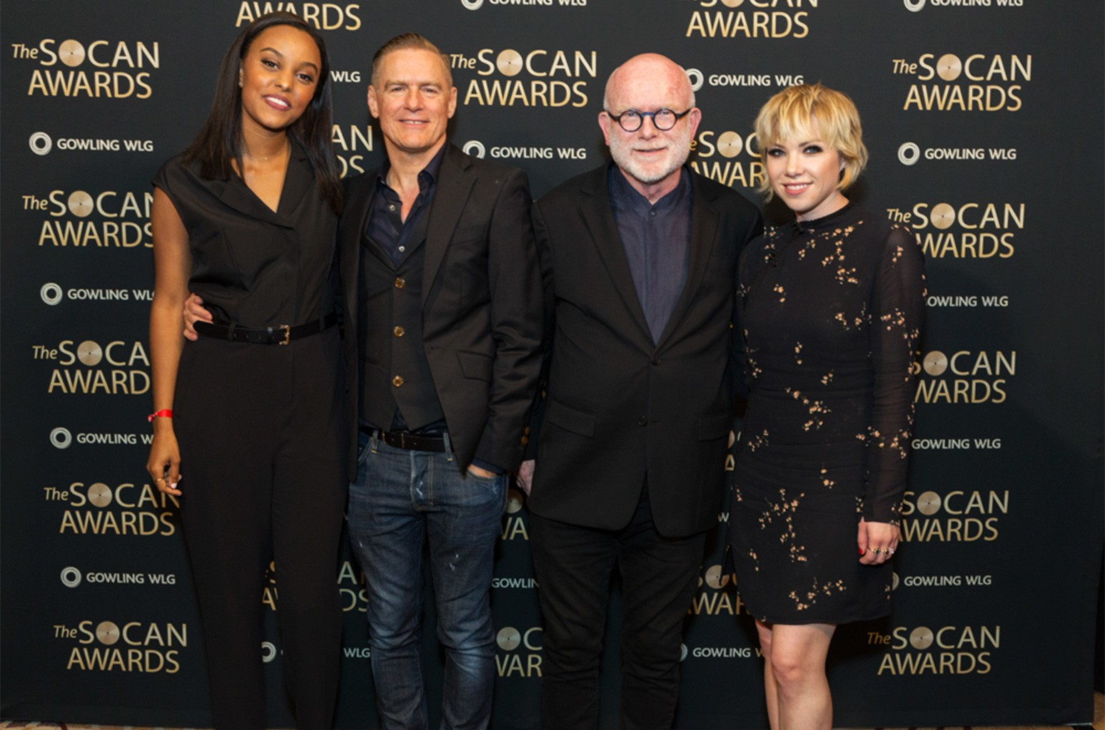 Ruth B, Bryan Adams, Jim Vallance and Carly Rae Jepsen are seen at the 28th annual SOCAN Awards, held June 19 in Toronto.