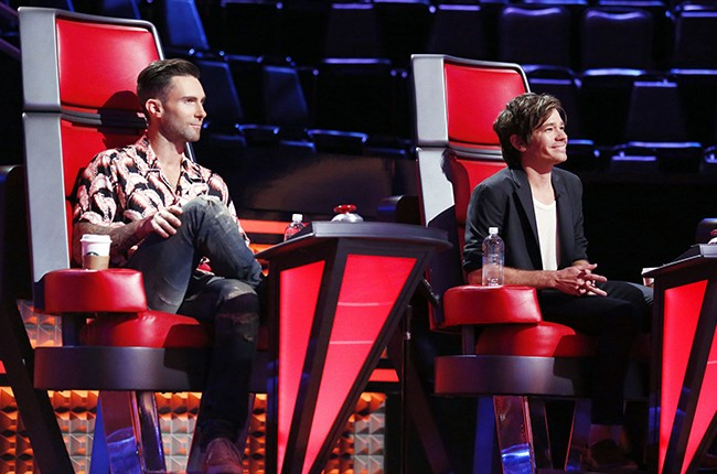 """Adam Levine and Nate Ruess of Fun. during the """"Knockout Reality"""" round on NBC's The Voice."""