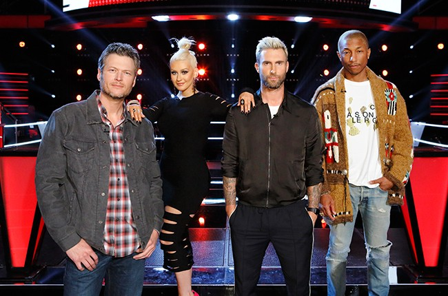 Blake Shelton, Christina Aguilera, Adam Levine and Pharrell Williams on NBC's The Voice during the Battle Rounds on March 22, 2016.