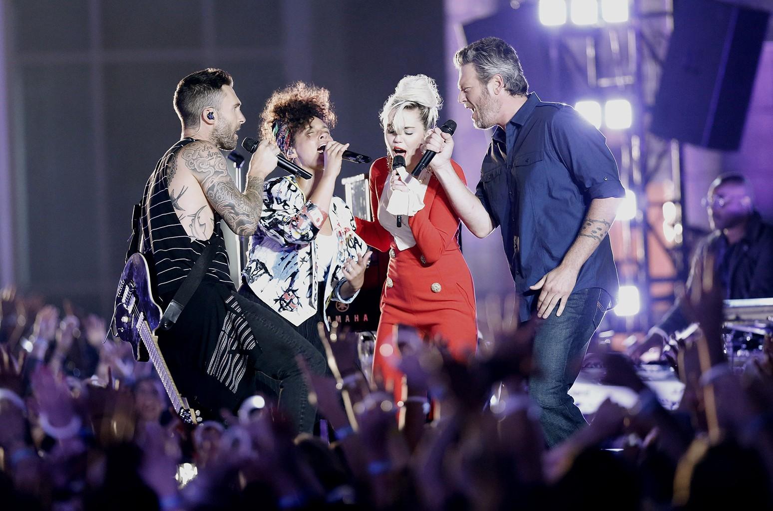 Adam Levine, Alicia Keys, Miley Cyrus and Blake Shelton on The Voice.