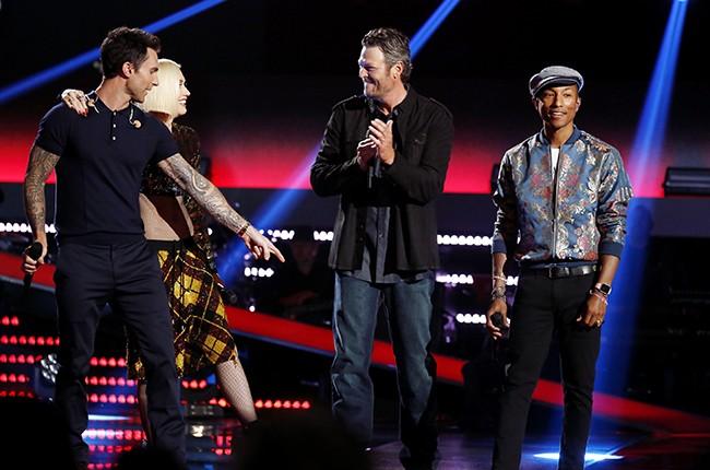 "Adam Levine, Gwen Stefani, Blake Shelton and Pharrell Williams on ""The Voice"""