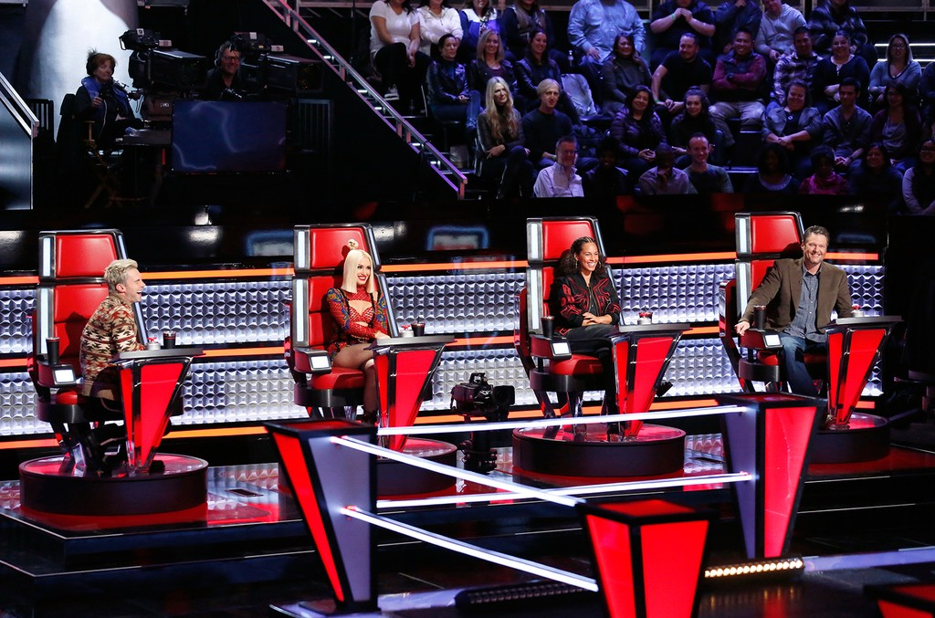 (l-r) Adam Levine, Gwen Stefani, Alicia Keys & Blake Shelton on 'The Voice.'