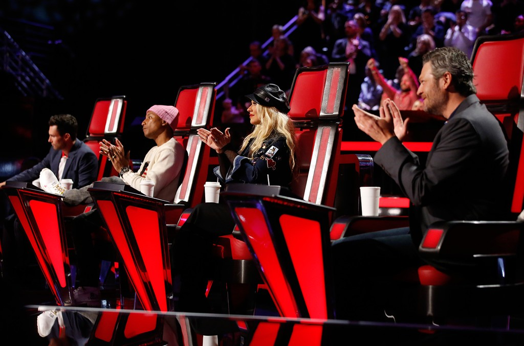 The Voice coaches Blake Shelton, Christina Aguilera, Adam Levine, Pharrell Williams in 2016.