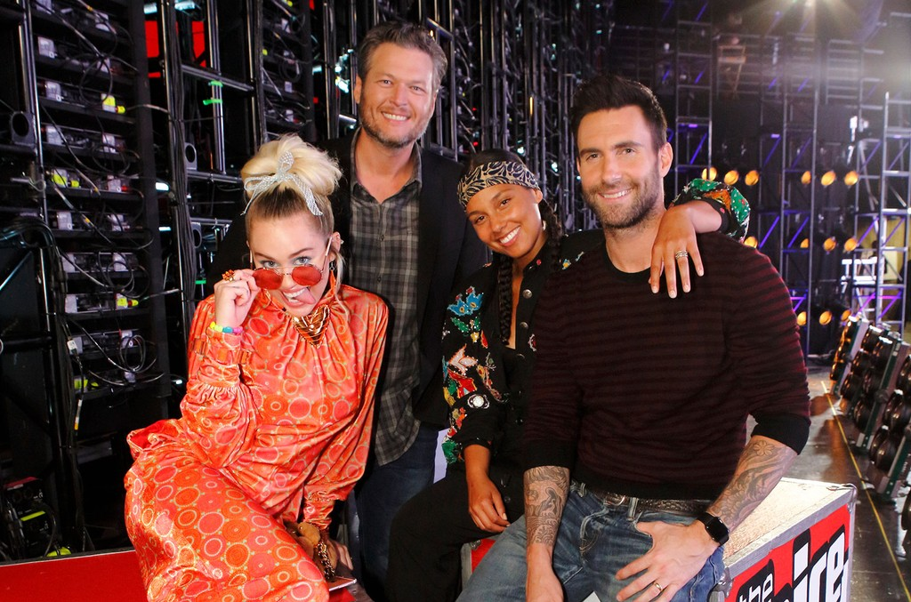 "Miley Cyrus, Blake Shelton, Alicia Keys and Adam Levine photographed during the ""Battle Rounds"" on The Voice."