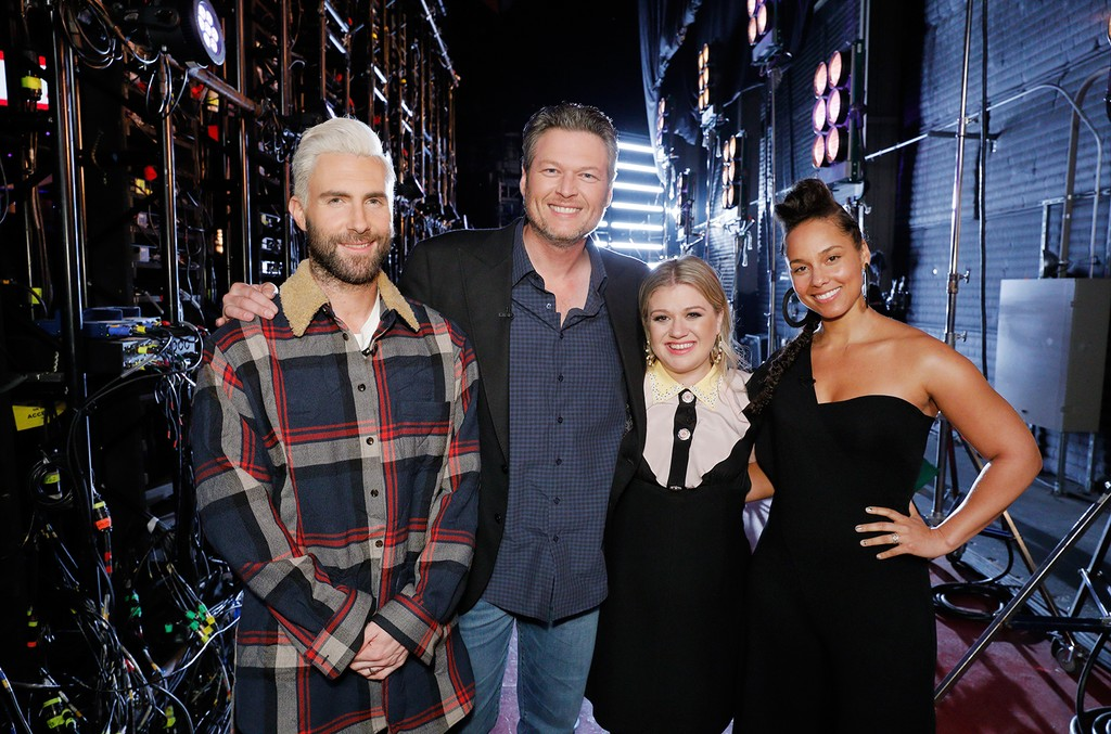 Adam Levine, Blake Shelton, Kelly Clarkson and Alicia Keys on The Voice.