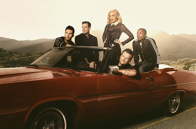 The Voice judges Adam Levine, Gwen Stefani, Pharrell Williams & Blake Shelton with host Carson Daly