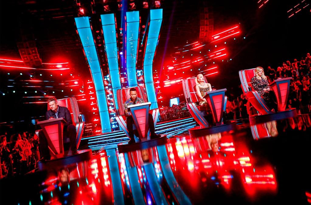 Blake Shelton, John Legend, Gwen Stefani and Kelly Clarkson on The Voice.
