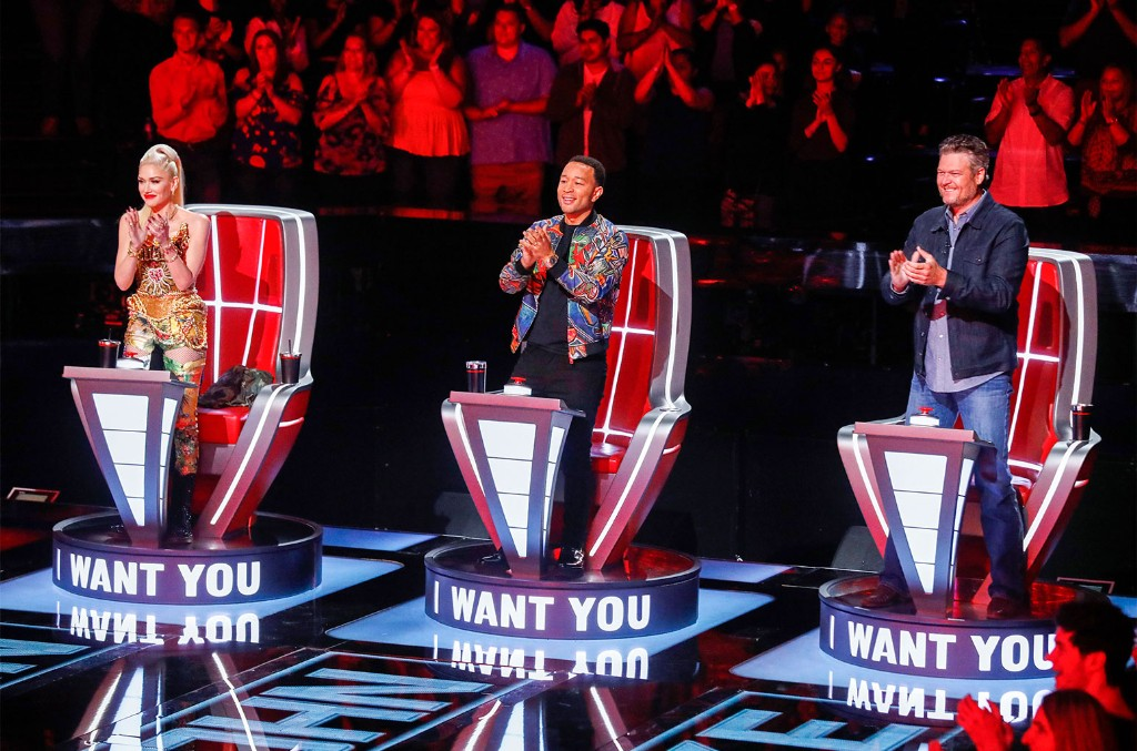 Gwen Stefani, John Legend and Blake Shelton