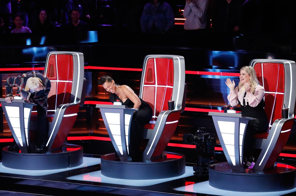 "Adam Levine, Alicia Keys and Kelly Clarkson during ""Knockout Rounds"" on The Voice."