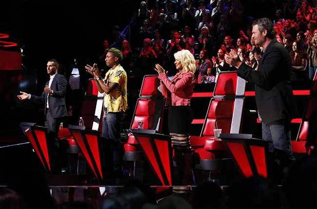 Adam Levine, Pharrell Williams, Christina Aguilera and Blake Shelton during the NBC's The Voice live semifinals on May 11, 2015.
