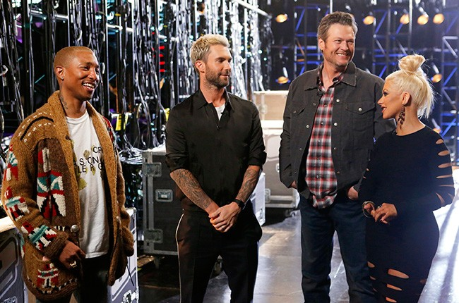 Pharrell Williams, Adam Levine, Blake Shelton and Christina Aguilera during the battle rounds on The Voice in 2016.