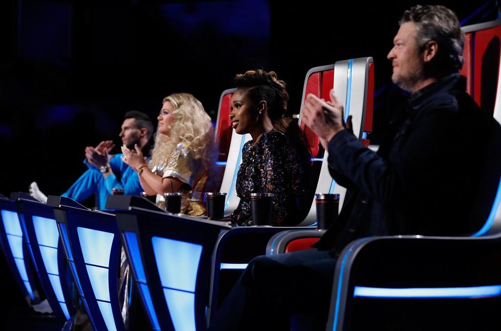 Adam Levine, Kelly Clarkson, Jennifer Hudson and Blake Shelton on The Voice.