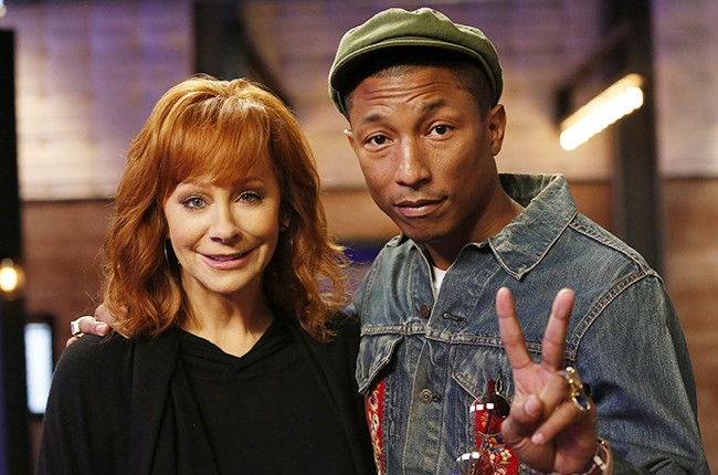 Top 12 Mentor Reba McEntire and Pharrell Williams on NBC's The Voice on April 13, 2015.