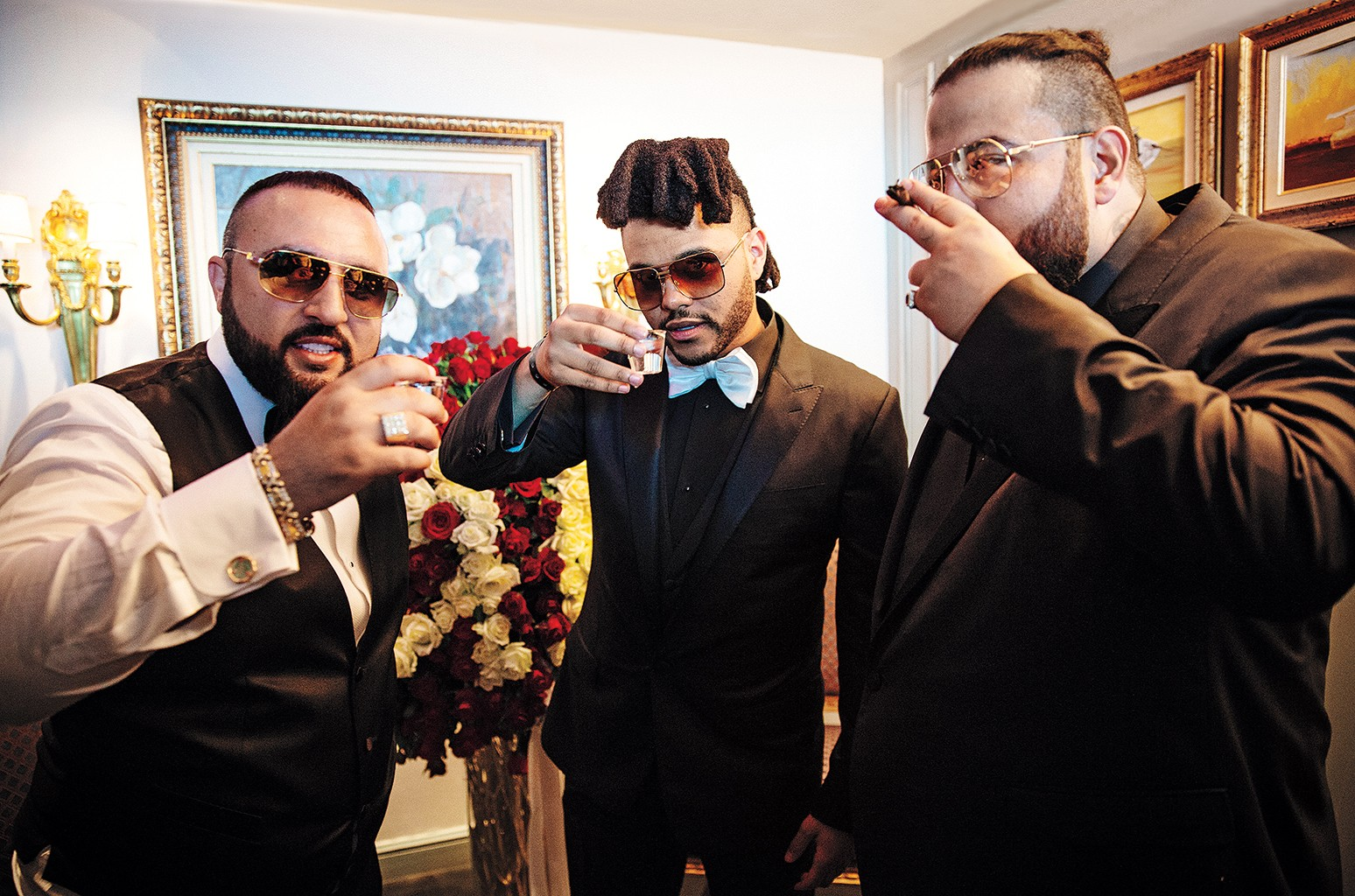 From left: Sal, The Weeknd and Belly toast Sal's May 15 wedding to former Miss USA Rima Fakih.