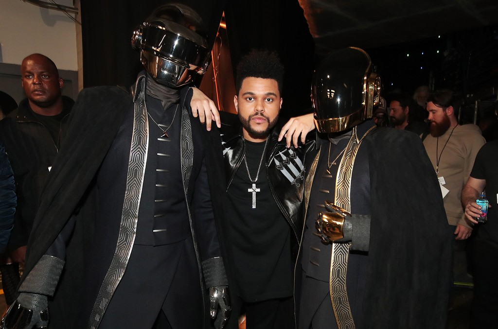 Daft Punk and The Weeknd attend The 59th Grammy Awards at Staples Center on Feb. 12, 2017 in Los Angeles.