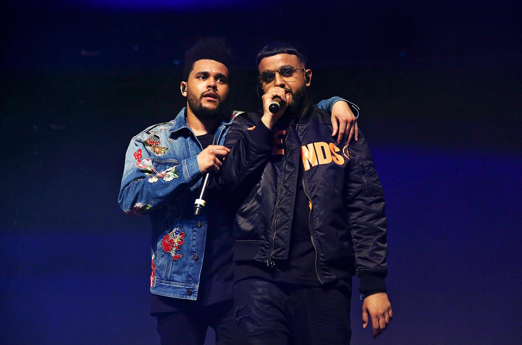 The Weeknd and Nav perform onstage at the Gobi tent during day 2 of the Coachella Valley Music And Arts Festival at Empire Polo Club on April 15, 2017 in Indio, Calif.