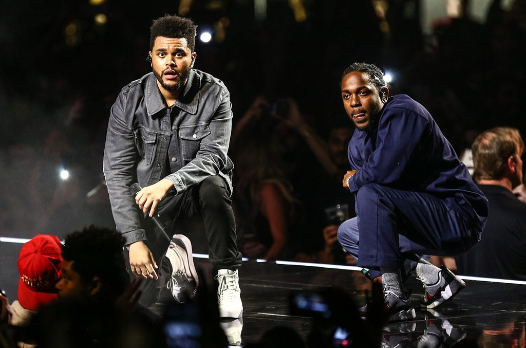 """Kendrick Lamar joins The Weeknd on stage during the """"Legends of The Fall Tour"""" to perform """"Sidewalks"""" on April 29, 2017 at The Forum in Inglewood, Calif."""