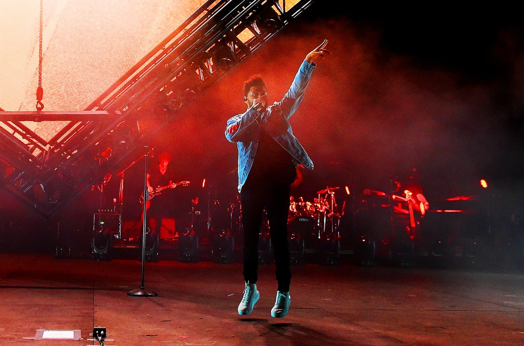 The Weeknd performs onstage during the 2017 Firefly Music Festival on June 17, 2017 in Dover, Del.