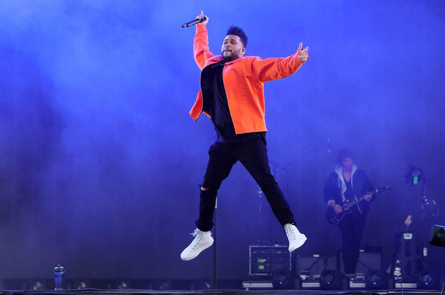 The Weeknd performs on day 3 of Wireless Festival at Finsbury Park on July 9, 2017 in London.