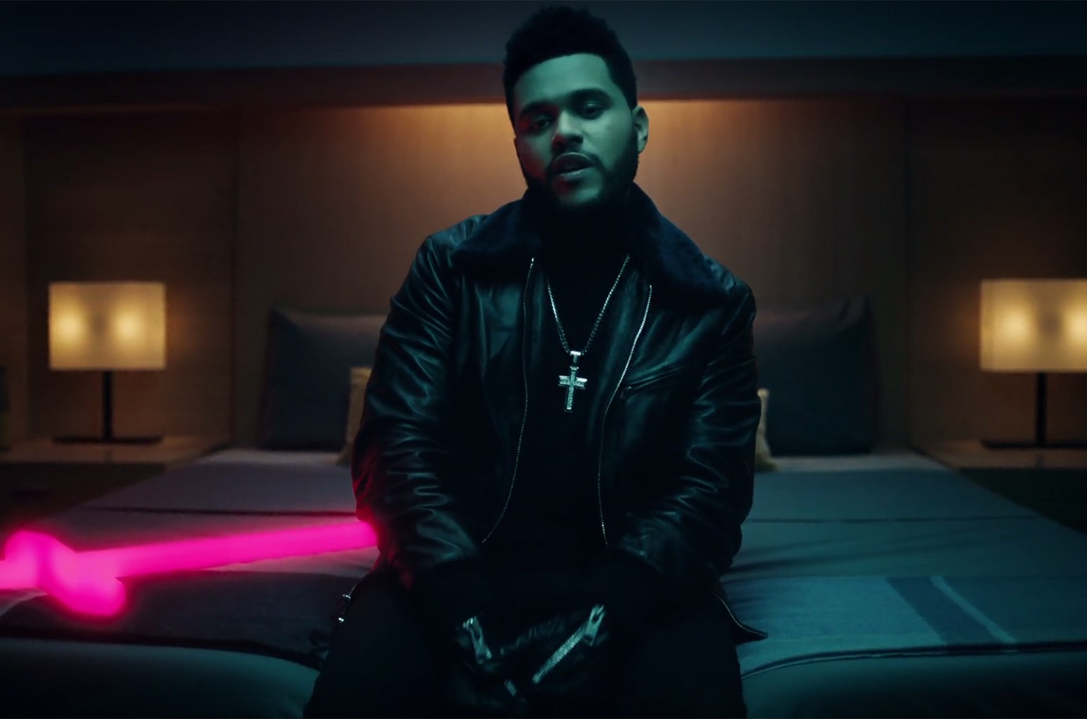 """The Weeknd in the video for """"Starboy"""""""